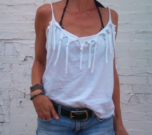 Close up White DIY Fringe Tee