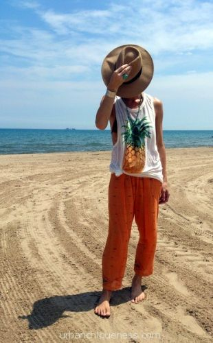 Print pants, harem pants, beach attire