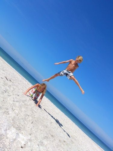 Jumping, seaside, paradise, island living