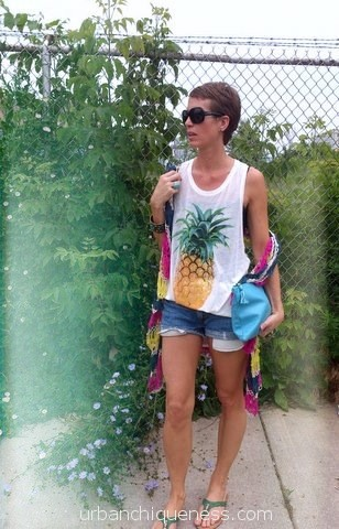 H&M, Pineapple, Tee, Levi's, Cut offs, Summer, Trends, American Apparel Clutch, Turquoise, Thrifting, Open Knit cardi, Fashion, Style